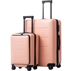 COOLIFE Luggage Suitcase Piece Set Carry On ABS+PC Spinner Trolley with Laptop pocket (Sakura pink, 2-piece Set)