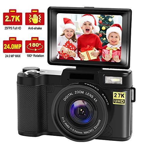 Digital Camera Vlogging Camera with YouTube 24MP 2.7k Full HD Camera with Flip Screen 180 Degree Rotation (G1)